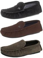 Mens Dunlop Moccasin Slippers Suede Leather All Sizes